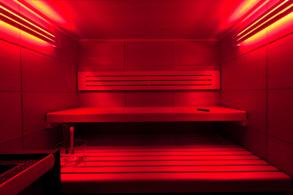 Sauna mit Farblichtsystem (rot)